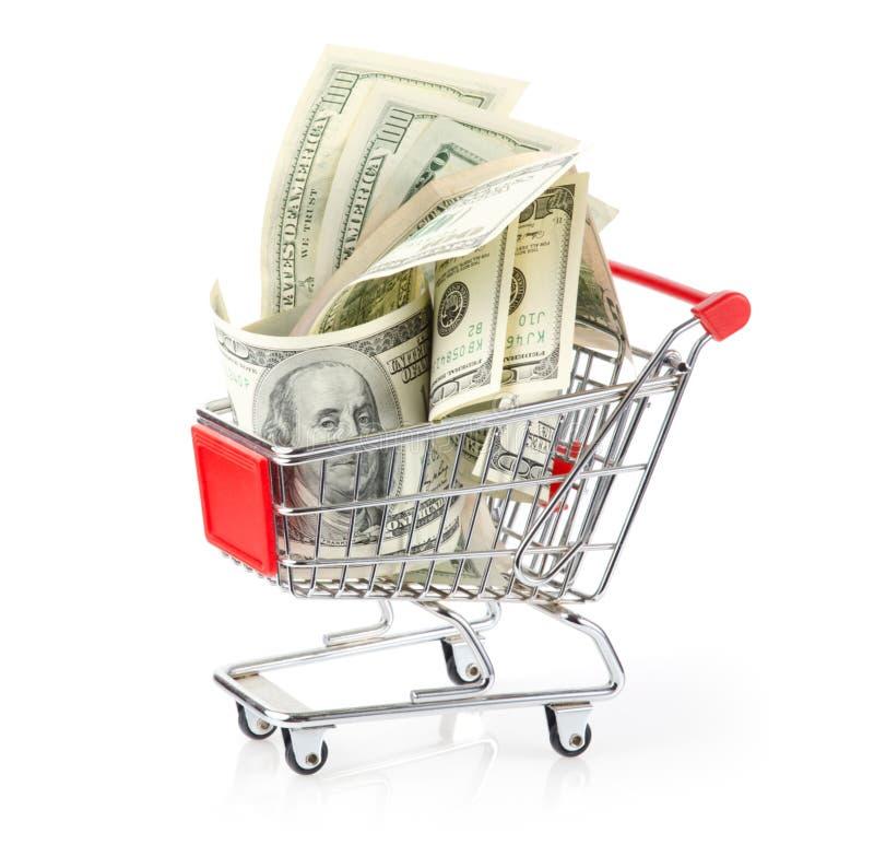 Geld in Boodschappenwagentje royalty-vrije stock afbeelding