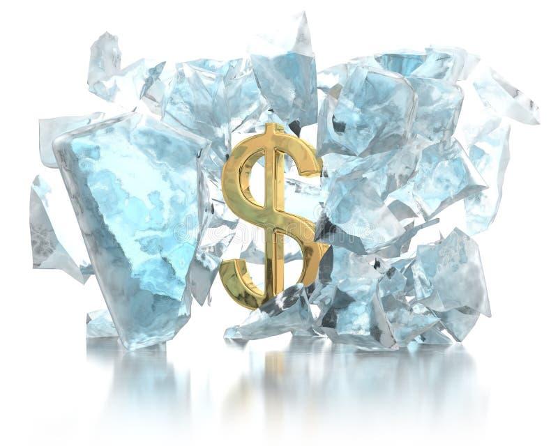 Geld bricht das Eiskonzept stock abbildung