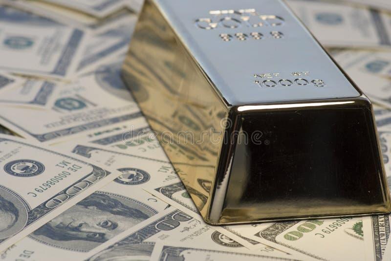 Geld, contant geld, gouden passement royalty-vrije stock fotografie