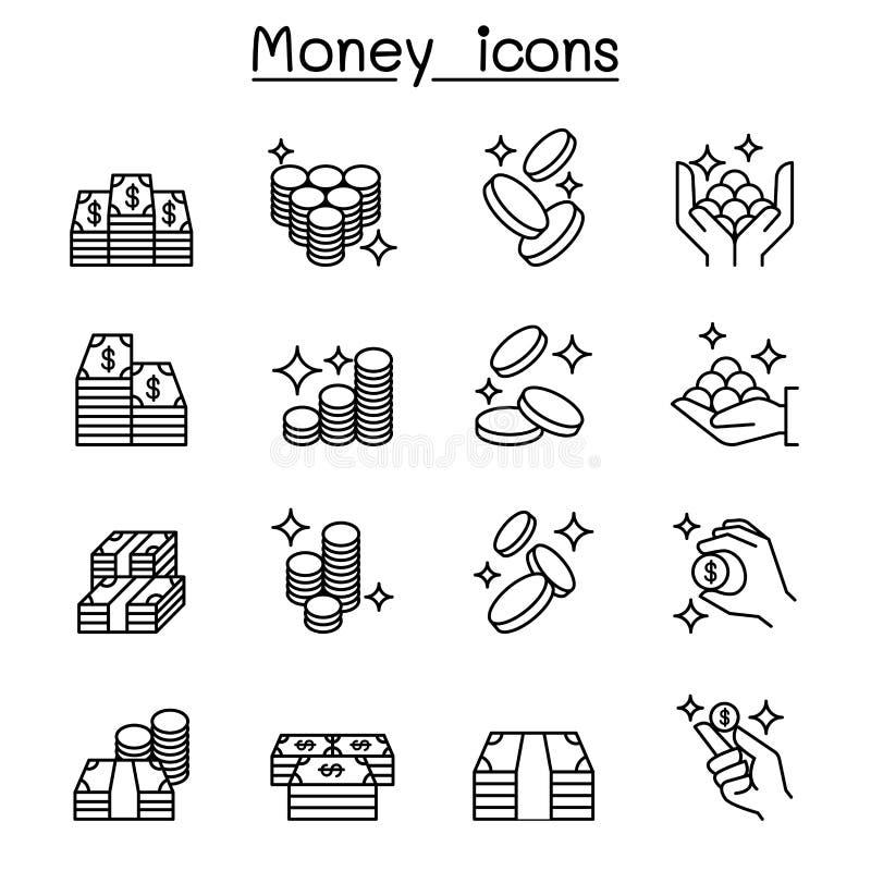 Geld, Contant geld, het pictogram van het Muntstukbankbiljet in dunne lijnstijl die wordt geplaatst vector illustratie