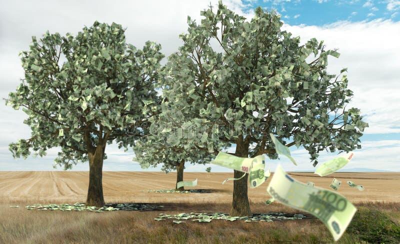 Geld, das auf Bäumen wächst stockfoto