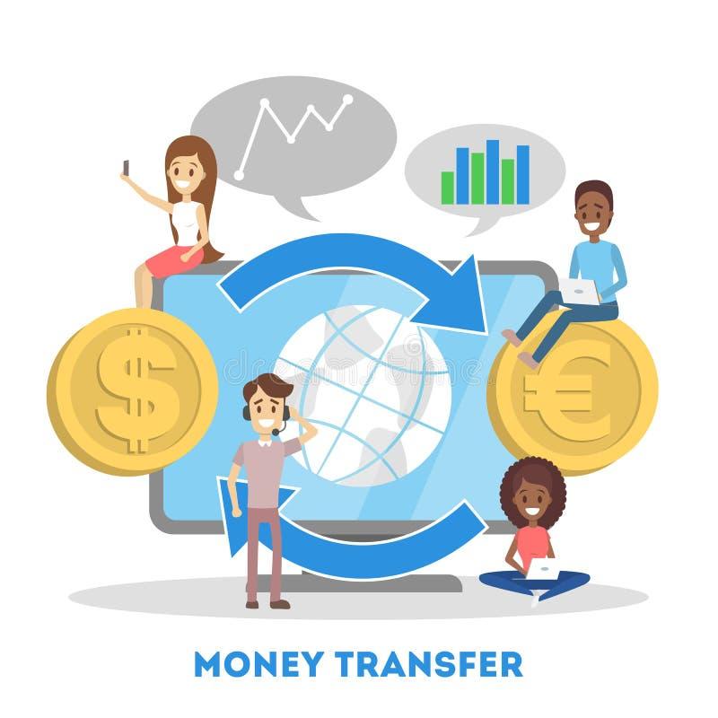 Geld, das auf die Weltkarte überschritten wird Geldtransaktion und elektronisch lizenzfreie abbildung