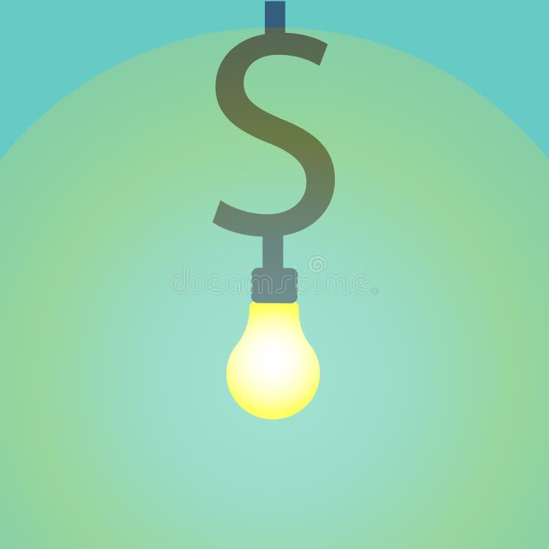 Geld, das Ideenkonzept macht Dollarsymbolglühen unter anderer Glühlampe stock abbildung