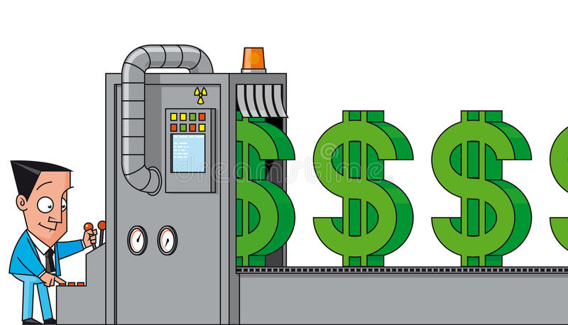 Geld, das Maschine herstellt stock abbildung