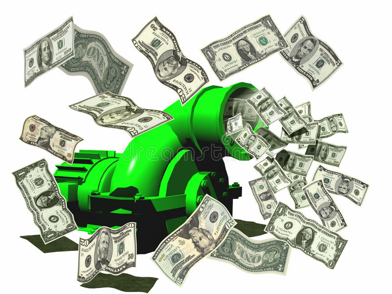 Geld, das Maschine herstellt lizenzfreie abbildung