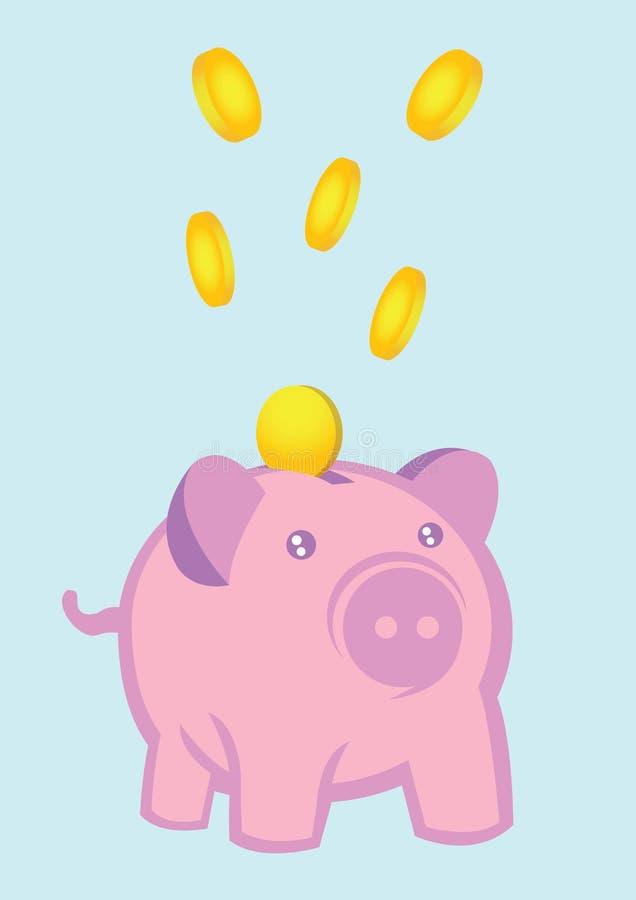 Geld, das in Sparschwein-Vektor-Illustration fällt lizenzfreie abbildung