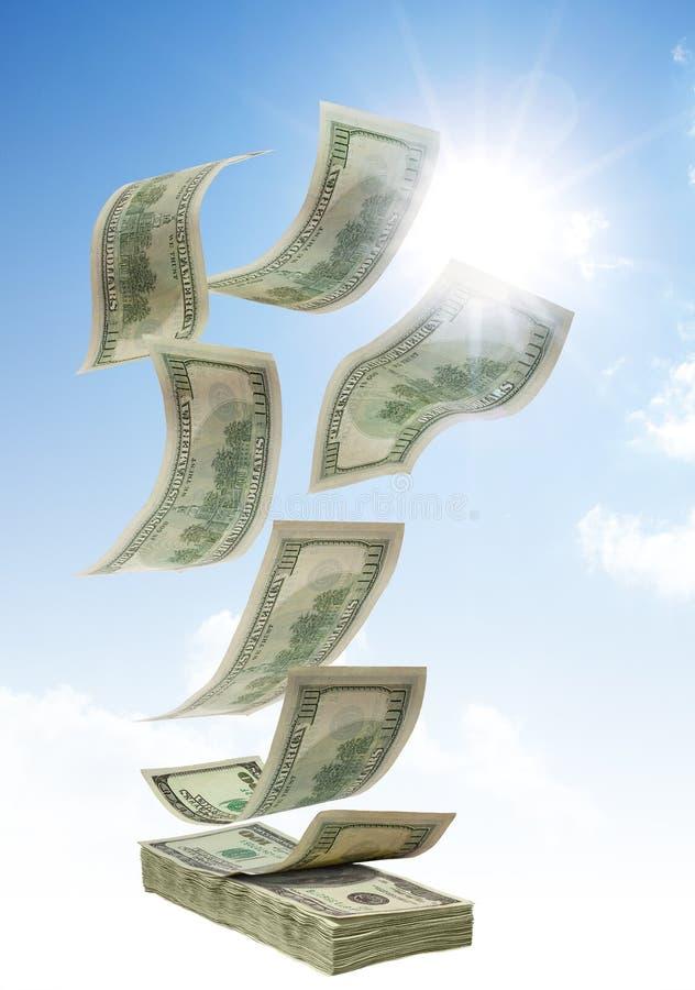 Geld dat van hemel valt stock afbeeldingen