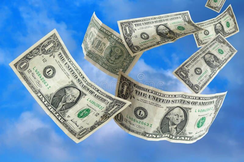 Geld dat van Hemel valt stock fotografie