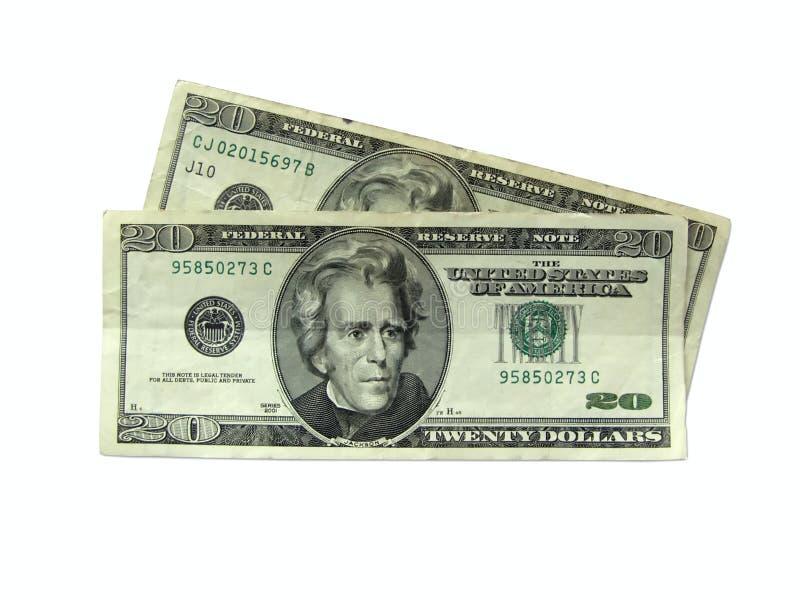 Geld - de Rekeningen van Twintig Dollars stock foto's