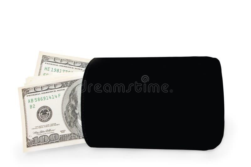 Geld in den Geldbeutel stockfoto