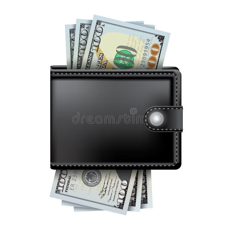 Geld in der Geldbörse vektor abbildung