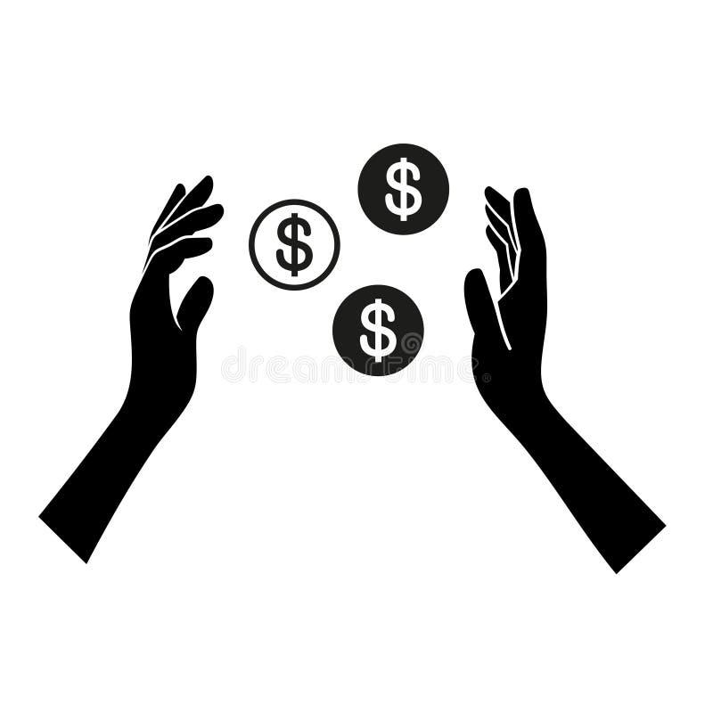 Geld-in der Hand Ikone auf weißem Hintergrund Vektor lizenzfreie abbildung