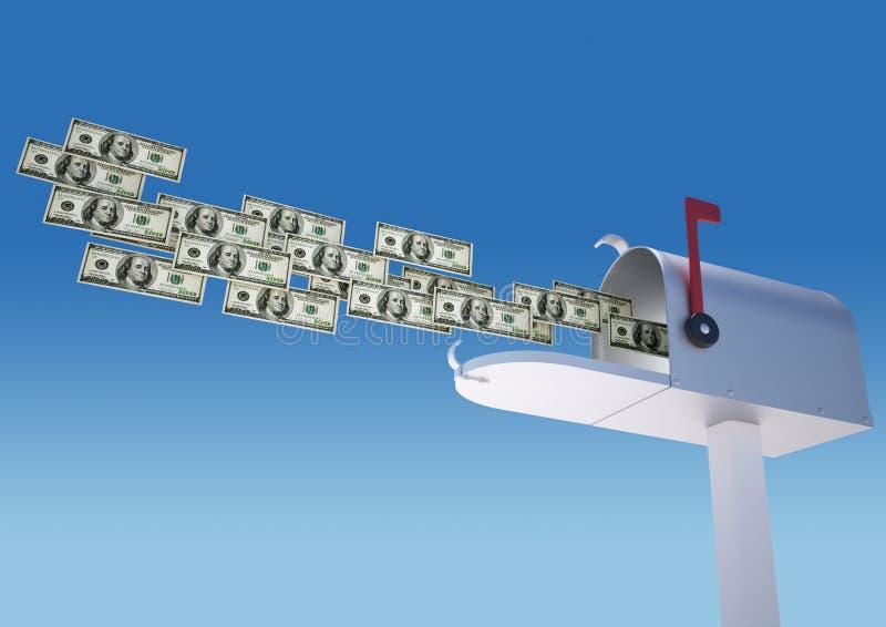Geld in der Mailbox lizenzfreie abbildung