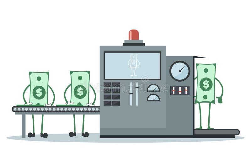 Geld die in productielijn werken om meer geld te produceren royalty-vrije illustratie