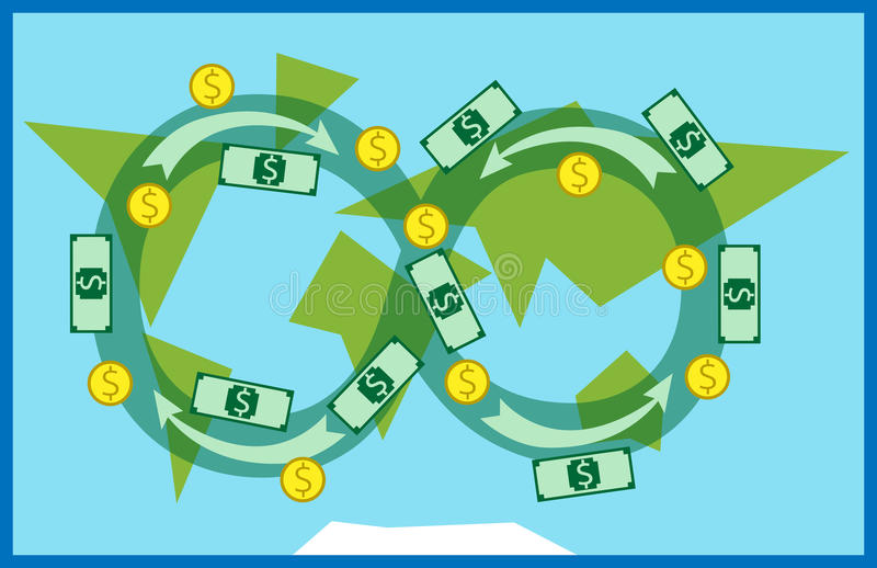 Geld die in wereld doorgeven royalty-vrije illustratie