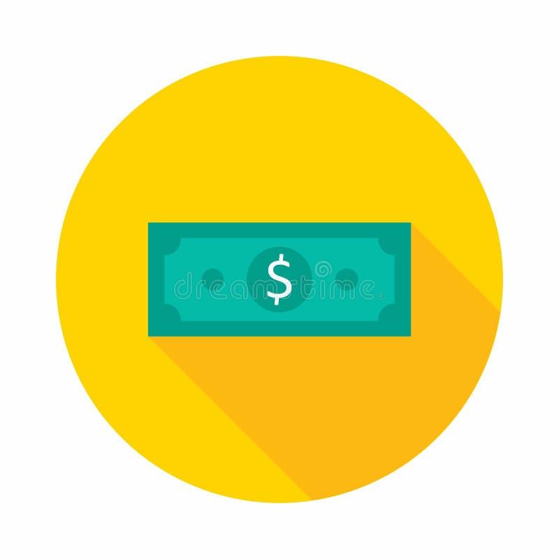 Geld, Dollar, Financiën, Zaken, Vector, Vlak pictogram, Geldillustratie van rijkdom en voorwaarde stock illustratie