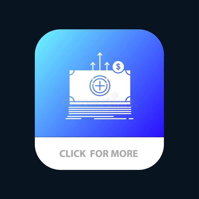 Geld, Dollar, medizinisch, Übergangsmobiler App-Knopf Android und IOS-Glyph-Version vektor abbildung