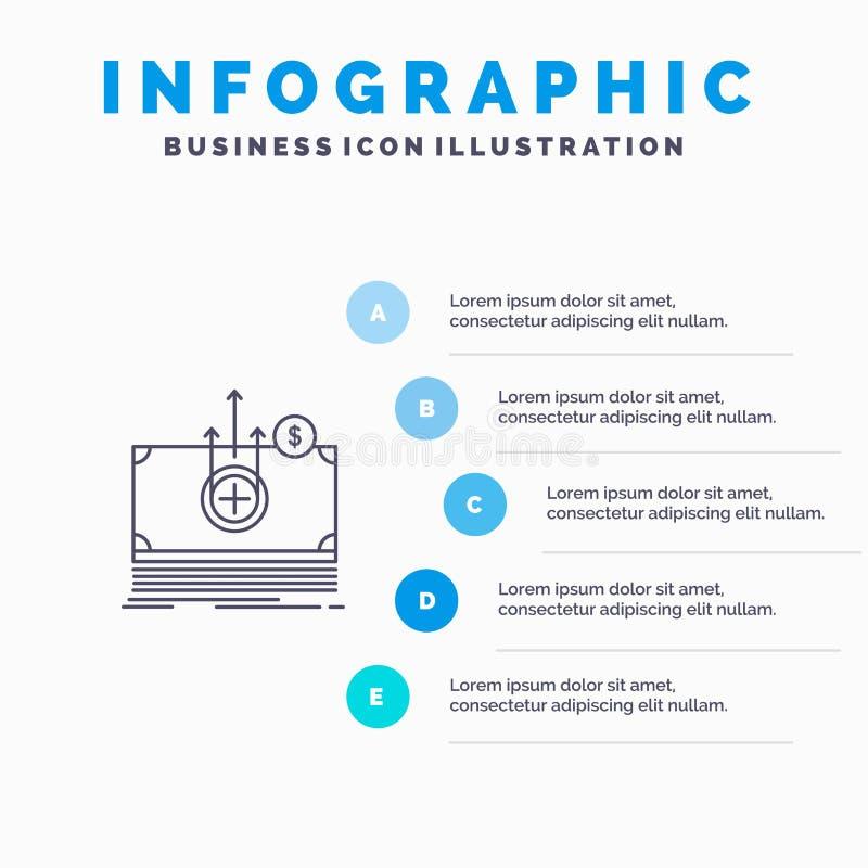 Geld, Dollar, medizinisch, Transferstraßeikone mit Hintergrund infographics Darstellung mit 5 Schritten vektor abbildung