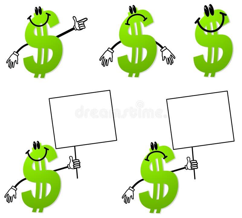 Geld-Dollar-Zeichen-Karikaturen stock abbildung
