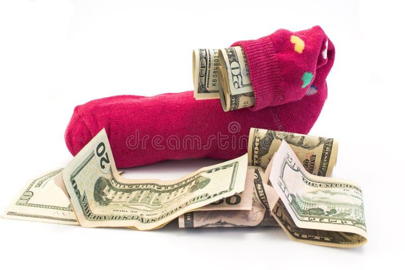Geld in een sok royalty-vrije stock afbeelding