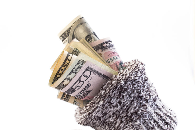Geld in een sok royalty-vrije stock foto