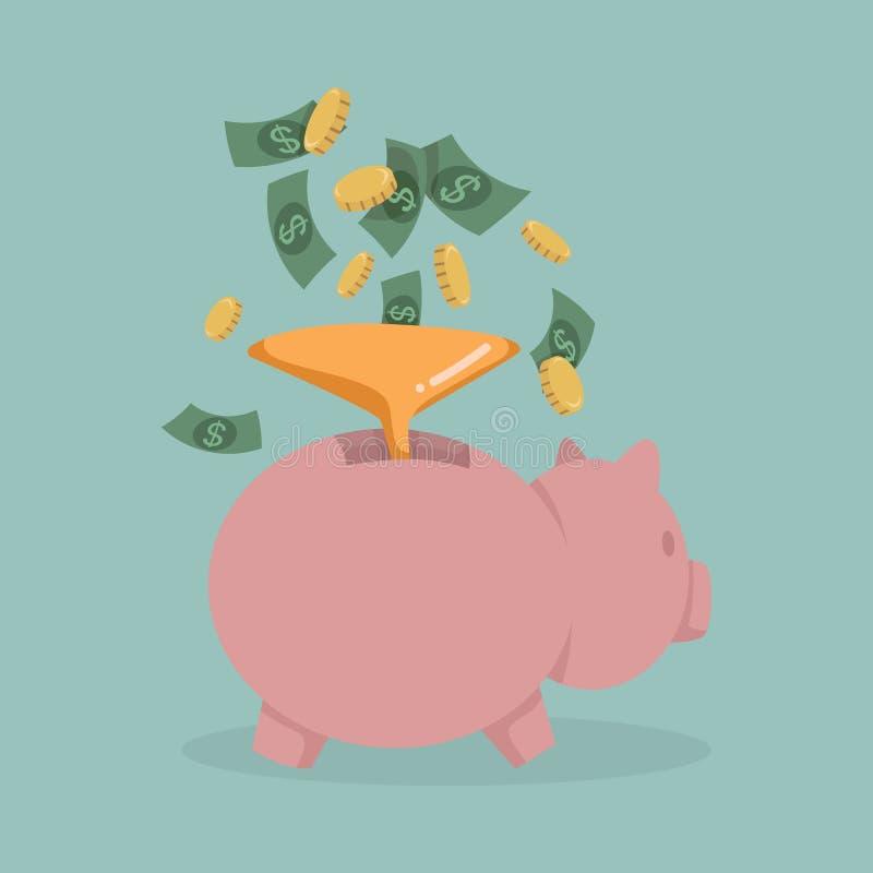 Geld in ein rosa Sparschwein stock abbildung