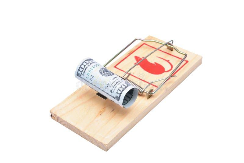 Geld in einem Mousetrap lizenzfreie stockfotos