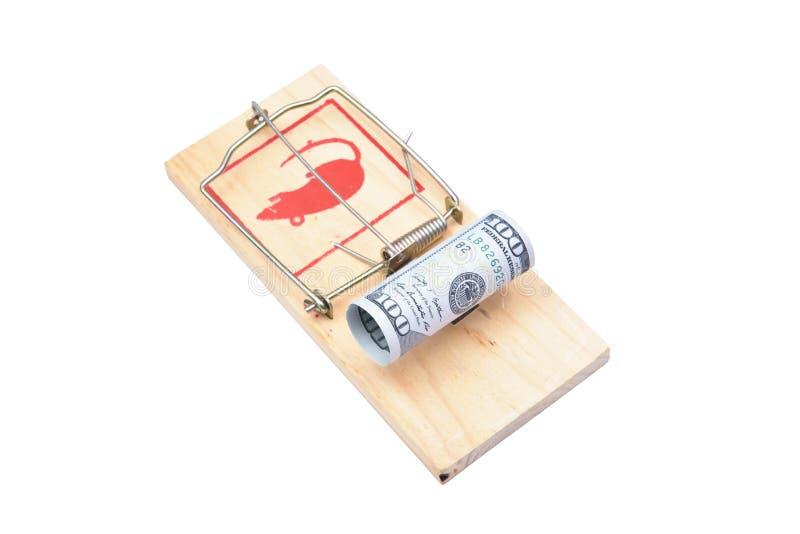 Geld in einem Mousetrap stockfoto