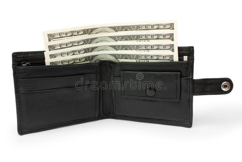 Geld in einem offenen schwarzen ledernen Geldbeutel stockbilder