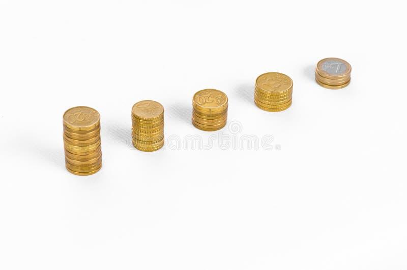 Geld en bedrijfsonderwerp: Diagram van gouden muntstukken op een witte achtergrond in studio stock foto's