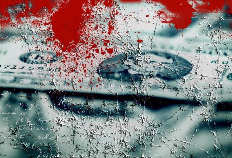Geld en bloed - grunge geweven collage vector illustratie