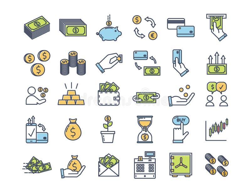 Geld en financiënpictogrammen De vector dunne overzichtspictogrammen met vlakke kleur brachten met betaling, financiën en economi vector illustratie