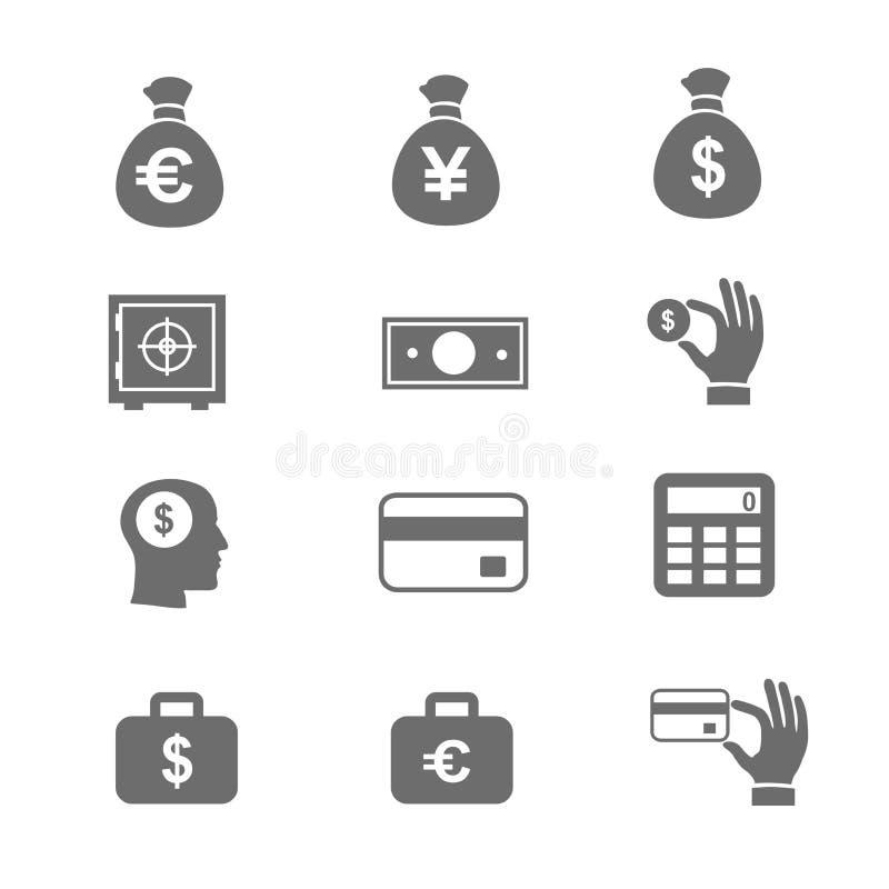 Geld en muntstukpictogram vastgestelde vectoreps10 illustratie vector illustratie