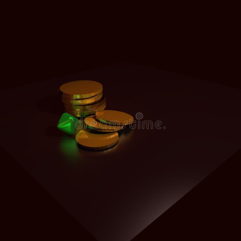 Geld en smaragd royalty-vrije stock afbeelding