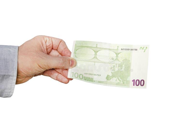 Geld-Euro in einer Hand lokalisiert auf Weiß stockfotos