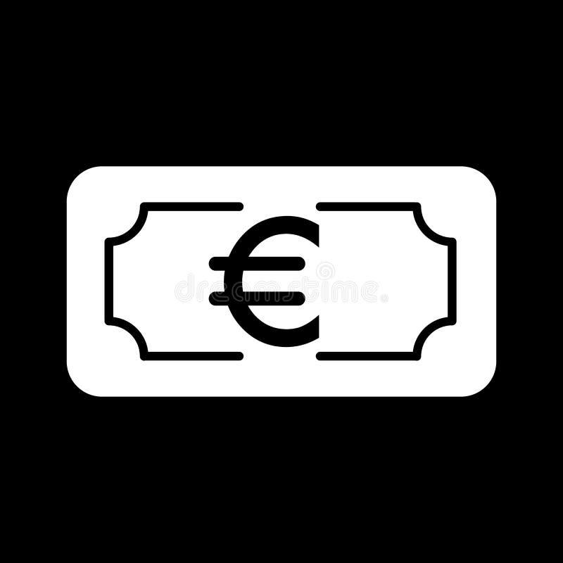 Geld euro vectorpictogram Zwart-witte contant geldillustratie Stevig lineair bankwezenpictogram stock illustratie