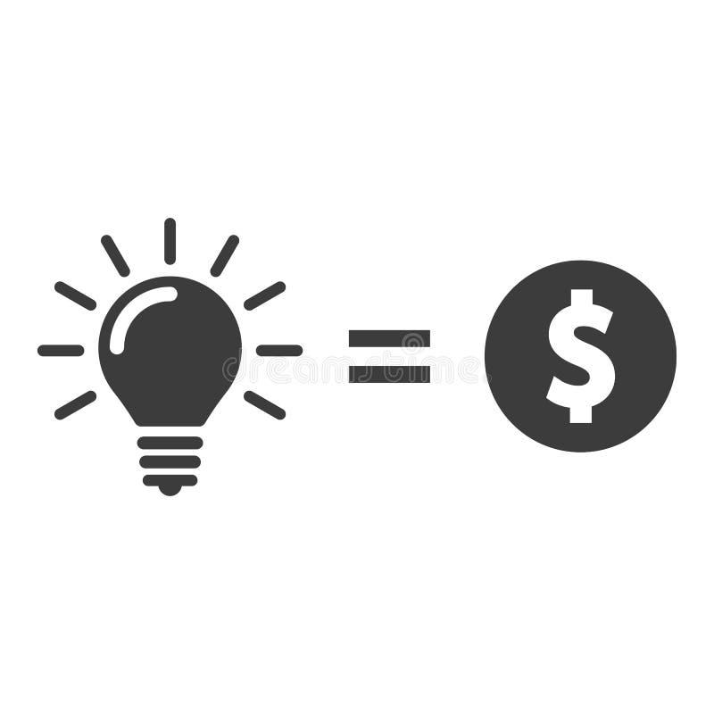 Geld für Glühlampenidee Geld für Ideenvektorikone lizenzfreie abbildung