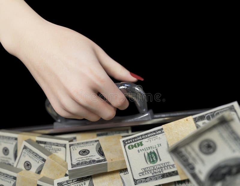 Geld falls und FrauenhandgeschäftserfolgKonzept lizenzfreies stockfoto