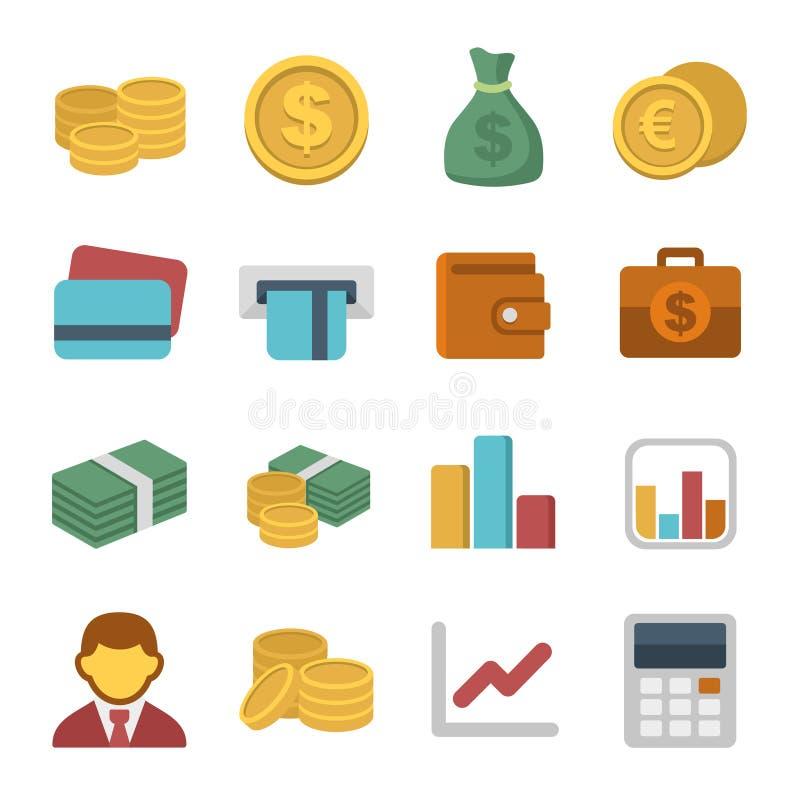 Geld-Farbikonensatz lizenzfreie abbildung