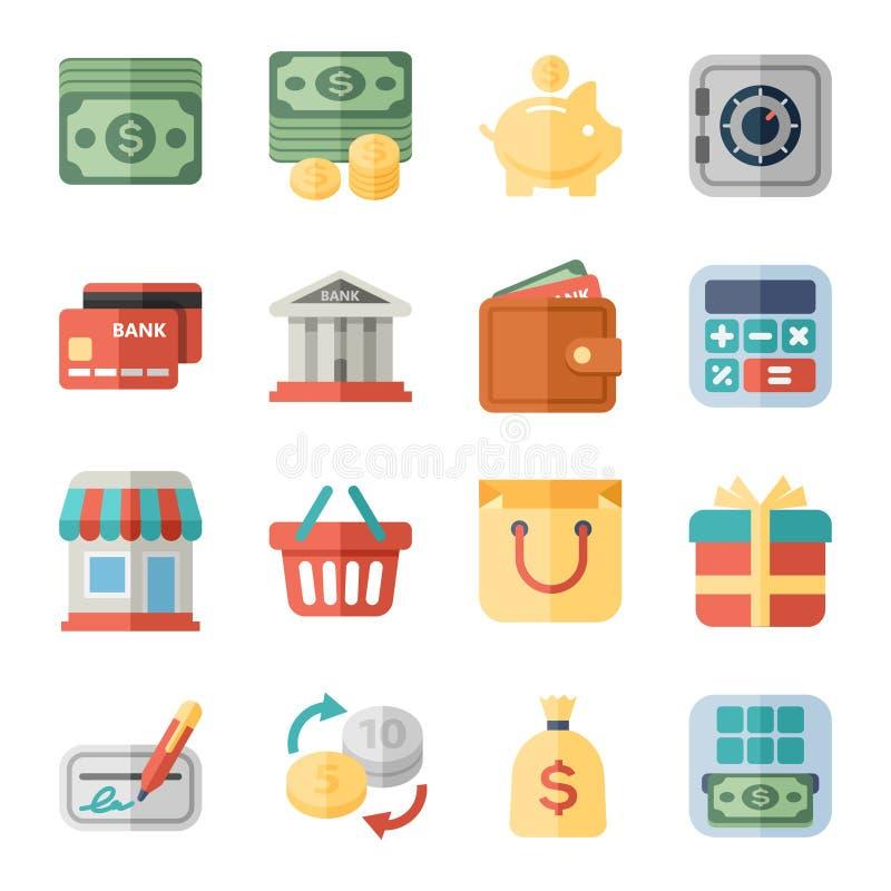 Geld, financiën, het winkelen vlakke pictogrammen stock illustratie