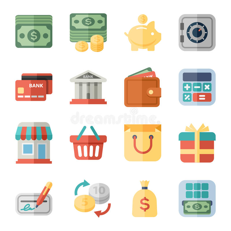 Geld, Finanzierung, kaufende flache Ikonen stock abbildung
