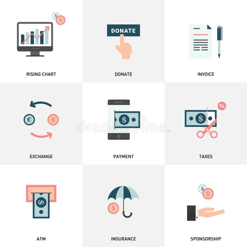 Geld, Finanzierung, Zahlungselemente Einfacher Satz Geld-in Verbindung stehende flache Vektor-Ikonen lizenzfreie abbildung