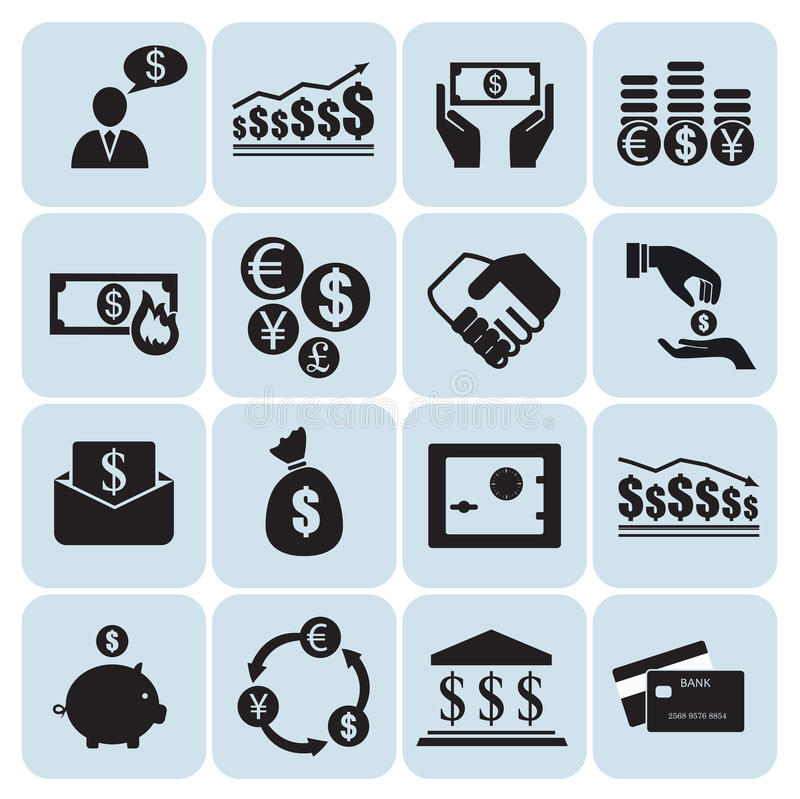 Geld, Finanzikonen lizenzfreie abbildung