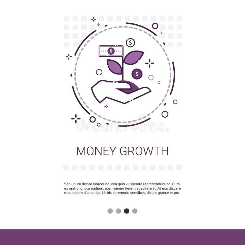 Geld-Finanzwachstums-Erfolgs-Geschäfts-Netz-Fahne mit Kopien-Raum stock abbildung