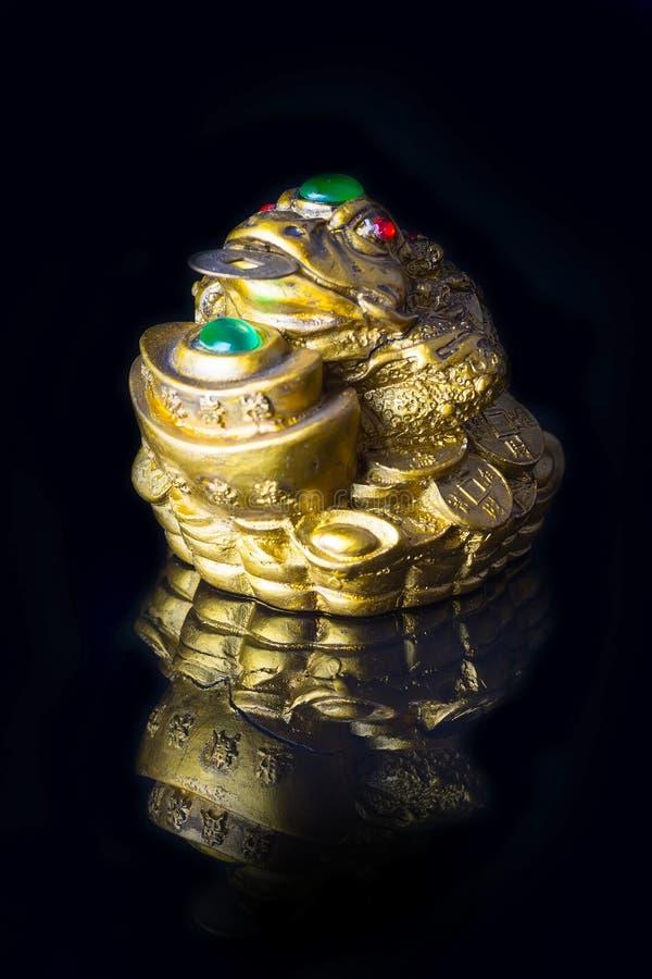 Geld-Frosch mit der Münze, die Reichtum und Wohlstand symbolisiert stockbilder