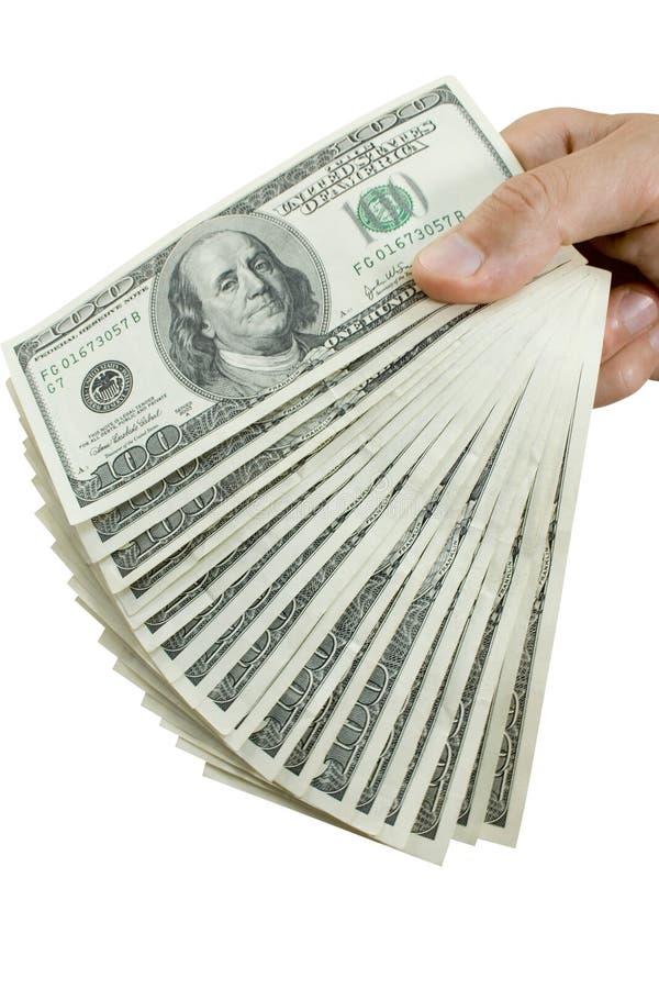 Geld in geïsoleerdel vingers stock foto's