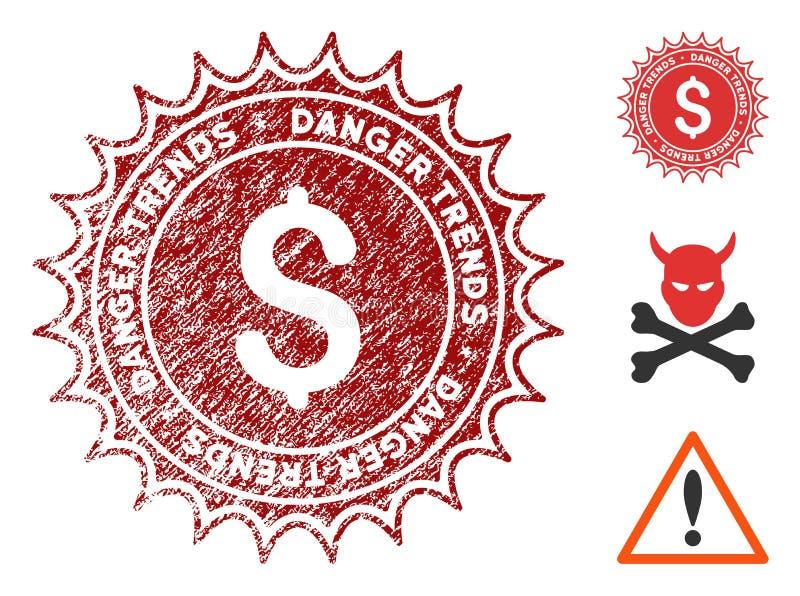 Geld-Gefahr neigt Dichtung mit Schmutz-Effekt lizenzfreie abbildung