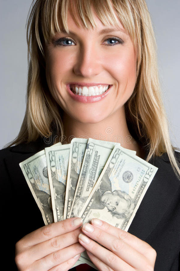 Geld-Geschäftsfrau stockfoto