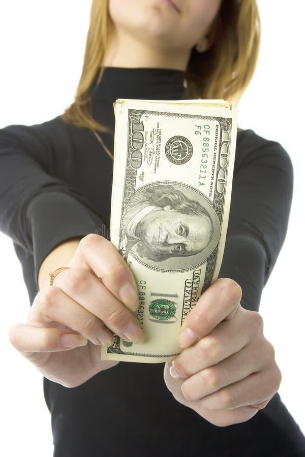 Geld in handen stock foto