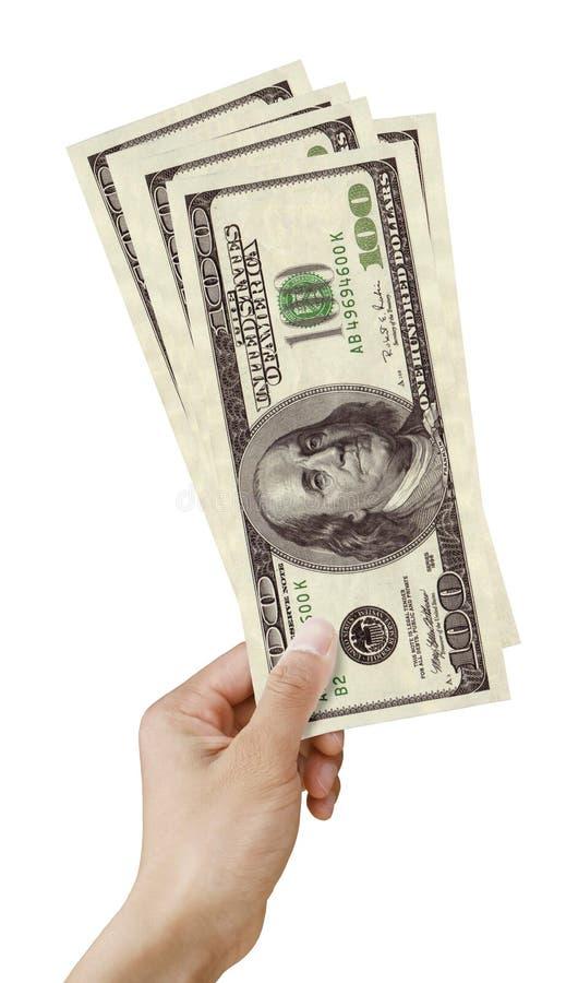 Geld in handen op wit stock fotografie